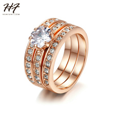 Crystal 3 Round Rose Gold Color Ring Jewelry Made with Genuine SWA ELEMENTS Crystals From Austria 4 Multi Sizes Wholesale R059(China)