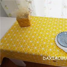 DAXIAOBU Cotton Linen Cloth Print Geometry Yellow Bottom Customed Tablecloth Cover 1214D