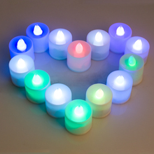 Artificial Candles, Set of 24 LED Lighted Flickering Votive Style Flameless Gradient colors Candles with Remote Control 630009(China)