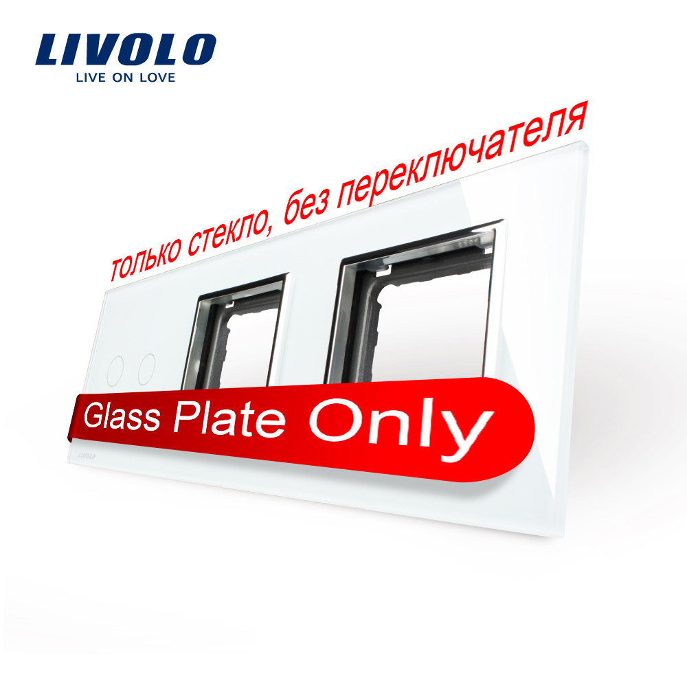 Free Shipping, Livolo White  Pearl Crystal Glass, 223mm*80mm, EU standard, 2Gang &amp;2 Frame Glass Panel, VL-C7-C2/SR/SR-11<br><br>Aliexpress