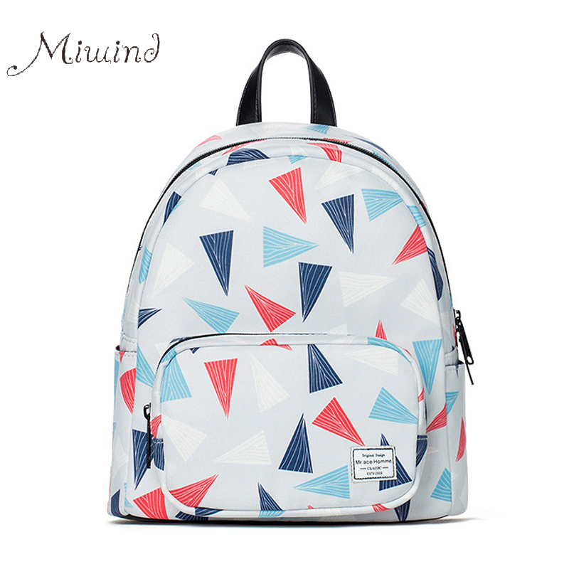 2017 cute designer printing anime zipper small canvas women backpack with leather school<br><br>Aliexpress