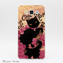 2006CA Le Chat Noir Transparent Hard Cover Case for Galaxy A3 A5 A7 A8 Note 2 3 4 5 J5 J7 Grand 2 & Prime