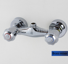 Brass Bath Shower Faucets Mixer Double Handle Wall Mounted hot cold water bathroom tap shattaf valve Banheiro torneira