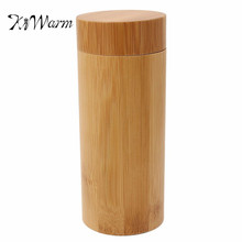 KiWarm Portable Vintage Multifunction Handmade Bamboo Wooden Box Cylindrical Jewelry Glasses Case Toy Holder Art Wood Crafts(China)