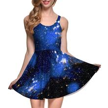 Popular Blue Sky Sexy Women Tennis Sports Pleated Dress Vogue Slim Elastic Galaxy Lady Skater Dresses Party Sports Dress