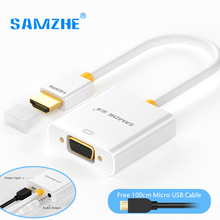 SAMZHE HDMI to VGA Adapter Converter 1080P Audio and Video Cable with Power Supply and Audio Ouput for Monitor PS3 PS4 XBOX(China)