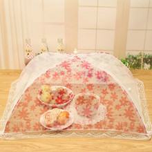 1pc Lace Umbrella Style Foldable Food Cover Hexagon Gauze Mesh Meal table umbrella Anti Fly Mosquito Kitchen Gadget Cooking Tool(China)
