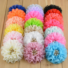 20pcs/lot 20colors Fabric Flower with Rhinestone for Kids Hairband Headbands DIY Garments Hair Accessories(China)