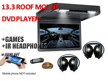 "13.3"" HD 1080p Car Roof Mount DVD Player Flip Down Monitor Screen with HDMI port LED light Van Bus 24V 12V, 2 IR headphones(China)"