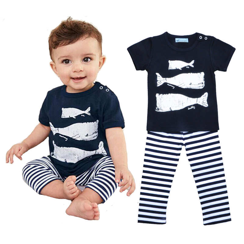Retail Whale Pattern Boy Girl Clothes Set Cartoon Animal Fish Short Sleeve T-shirt+Stripe Pants Baby Clothing Set robe enfants<br><br>Aliexpress