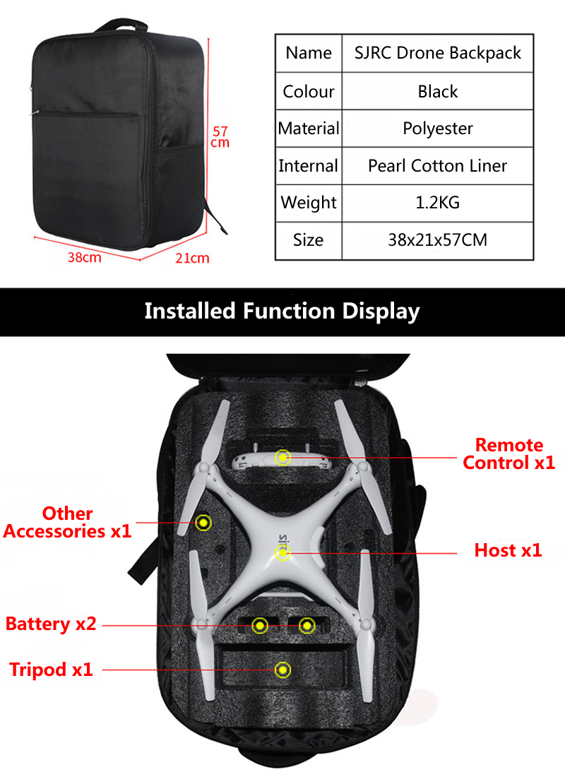 55260c09689 New SJRC S70W Drone Dedicated Backpack Waterproof Accessories Portable  Storage Bag High Quality Black Rucksack For Quadcopter 1. 1 ...