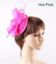 Hot pink teardrop base sinamay bow fascinators ostrich quill hats for women party church cocktail headwear headbands 17 Colors(China)