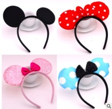 Fashion  /boy Headbands Mickey Minnie Mouse Ears Solid Black & Red Bow Hair Hoop  Bowknot Headwear  Accessories