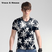 Summer new arrival ice silk soft&comfortable high-quality t shirt Coconut trees printing fashion casual t shirt men M-5XL 80749C