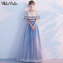 PotN'Patio Long Evening Dresses With Jacket 2017 New Lace Tulle Contrast Color High Quality Celebrity Evening Gowns