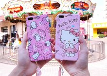 New Cute Cartoon Hello Kitty Phone Case Cover For iPhone 7 7 Plus 6 6s Plus Case Luminous Pink Back Cover Shell Lanyard