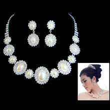 Wedding Bridal Bridesmaid Crystal Faux Pearl Necklace Earrings Pendant Set T52(China)
