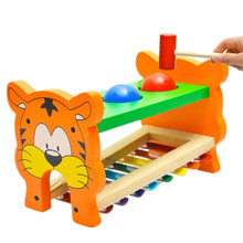 Wooden toys New Baby Kids Musical Educational 8-Note Animal Farm Developmental Music Toy High Quality Free Shipping W1502(China)
