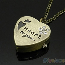 New Sweet Heart Vintage Retro Chain Pocket Watch Crystal Pendant Necklace Lady Girl Gift 5EMA