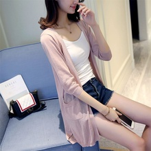 33 summer new long paragraph sweater pocket dress linen cardigan sweater F1760 air conditioner ice