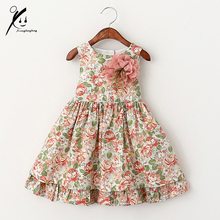 Baby Girls Dresses Floral Print Summer Party Princess Dress For Girls Costume Vintage Kids Toddler Girl Clothing XDD-511733