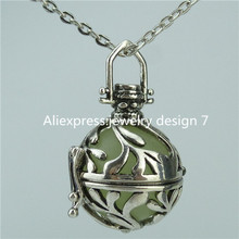 14404  Glow in the dark bead Leaf Locket Cage Necklace Fragrance Essential Oil Aromatherapy Perfume Diffuser