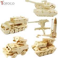TOFOCO DIY Kids 3D Wooden Puzzle Jigsaw Model Tank Missile Fighter Assembling Kits IQ Educational Toys For Children
