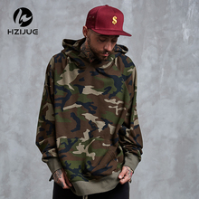 HZIJUE Army Green Camouflage Hoodies 2017 Winter Mens Camo Fleece Pullover Hooded Sweatshirts Hip Hop Swag Cotton Streetwear(China)