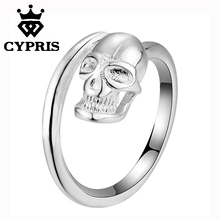 2018 promotion sale hot silver plated finger ring women girl gift xmas unique style must buy skull cool fancy(China)