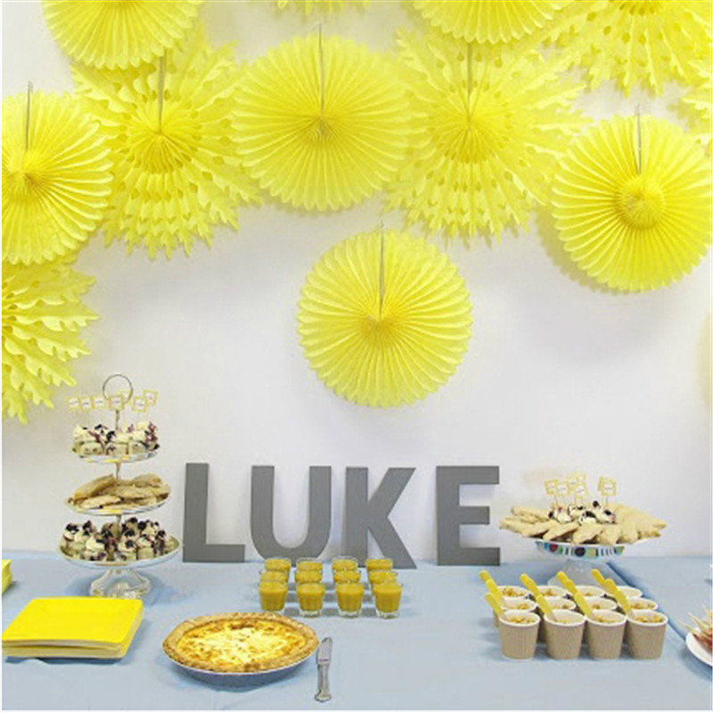 15cm Paper Crafts Honeycomb Tissue Paper Fans DIY Event Wedding Birthday Party Baby Shower Decorations Supplies Favors