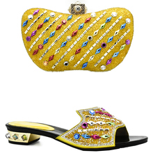 Yellow Color Italian Shoes and Bags To Match Shoes with Bag Set Decorated with Rhinestone Nigerian Women Wedding Shoes and Bag(China)