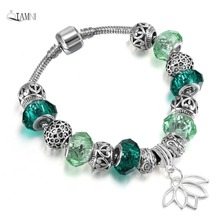 QIAMNI Summer Gift Fashion DIY Jewelry Lotus Pendant Heart Beads Green Glass Snake Chain Bracelet Bangles for Women Girl Charm(China)