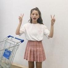 314fd21a59cf Harajuku 2018 Femmes De Mode D été taille haute plissée jupe Vent Cosplay  plaid jupe kawaii Femelle Mini Jupes avec Inner Court