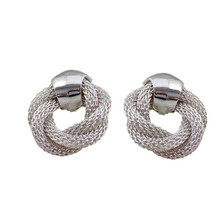 Europe and the United States foreign trade jewelry wholesale texture hollow twist silver earrings earrings(China)