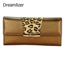 New 2017 Women Leather Wallet Long Trifold Genuine Female Clutch Purse Hasp Horse Hair Decorated Women Bag Wallet Card Holder