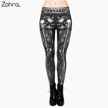 Zohra Black Skull Fashion Women Clothing fitness legging Digital 3D Printing Punk Legging Pants Causal Leggings(China)