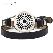 hot sales real leather aromatherapy bracelet locket twist 316L stainless steel locket bracelet with free pad and gift box(China)