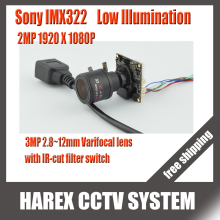 Sony IMX322 1080P 2MP mini IP Camera Main board module with 2.8-12mm varifocal lens IR-cut filter switch. Free shipping(China)