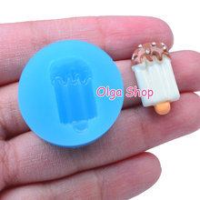 XYL081 Ice Cream Bar Popsicle Mold w/ Chocolate Chip Silicone Mold Polymer Clay Charms (Clay Fimo Epoxy Paste Fondant)