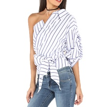 Women Striped Blouses One Shoulder V-neck Half Puff Sleeve Shirts Bow Ruffle Tie Waist Slim Tops H36(China)