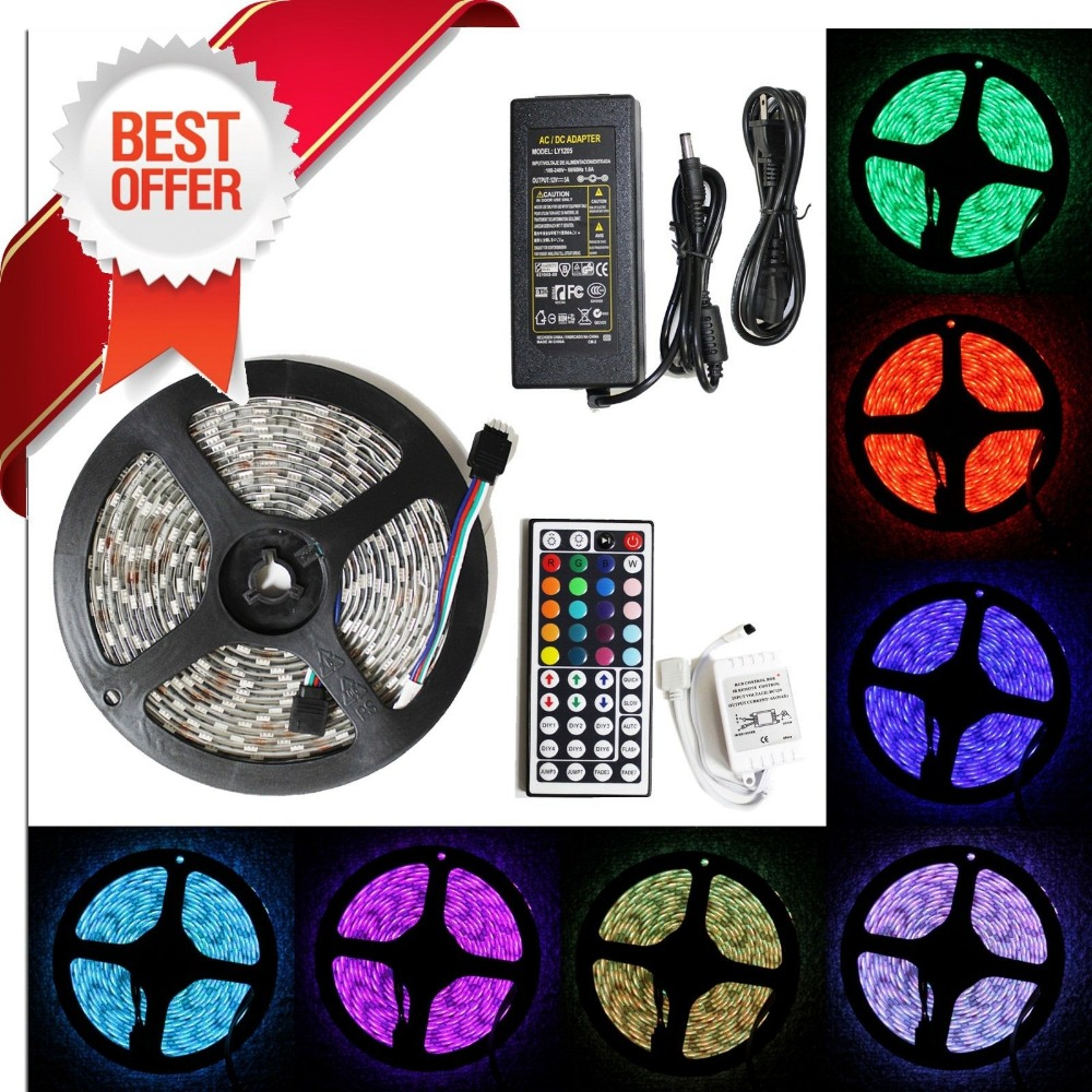 5050 RGB led strip light set waterproof ip65 300led 5m tape 44 Keys IR Remote Controller 12V 5A Power Adapter and plug<br><br>Aliexpress