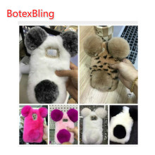 BotexBling Panda Rabbit Fur Case For samsung galaxy S4 mini s4mini I9190 S5 mini s5mini Cute Cartoon warm fluffy Hair plush Cove(China)