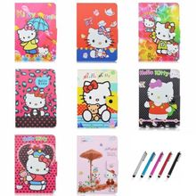 "Cute Cat Cartoon Hello Kitty PU Leather Stand Cover Case for 10.1"" Toshiba Encore 2 10 WT10-A32 Windows 8.1 Tablet"