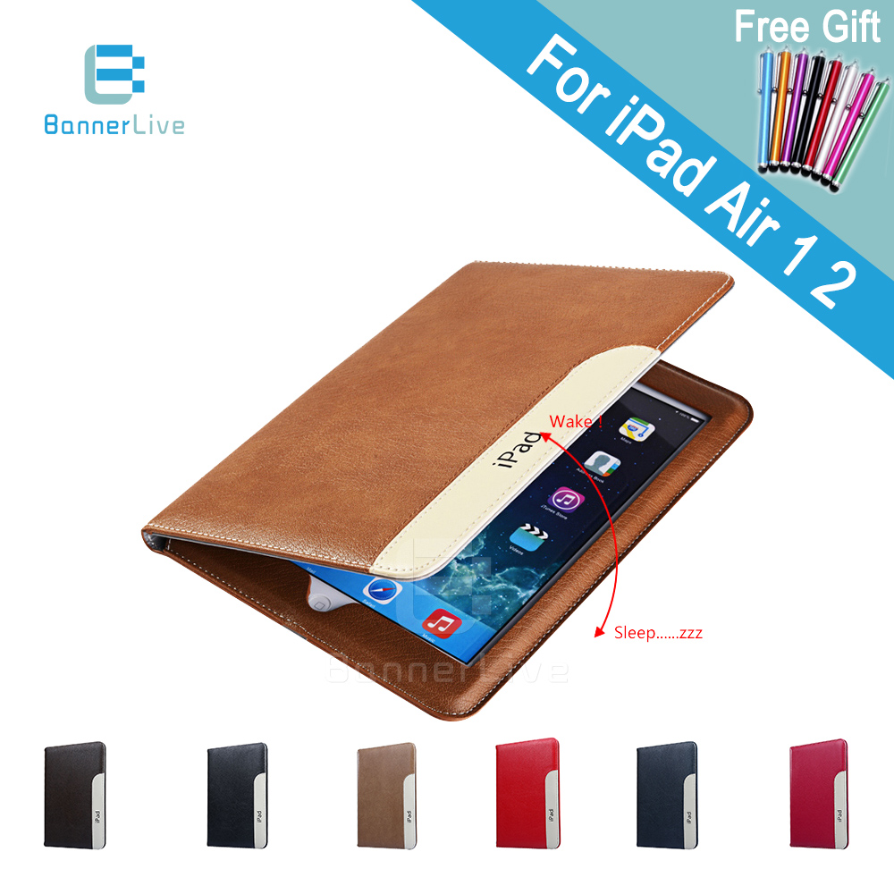 Luxury Automatic Wake-up Sleep Smart Cover Leather Case for iPad Air 2 Air 1 Smartcover for iPad 6 5 with Stylus Pen as Gift<br><br>Aliexpress