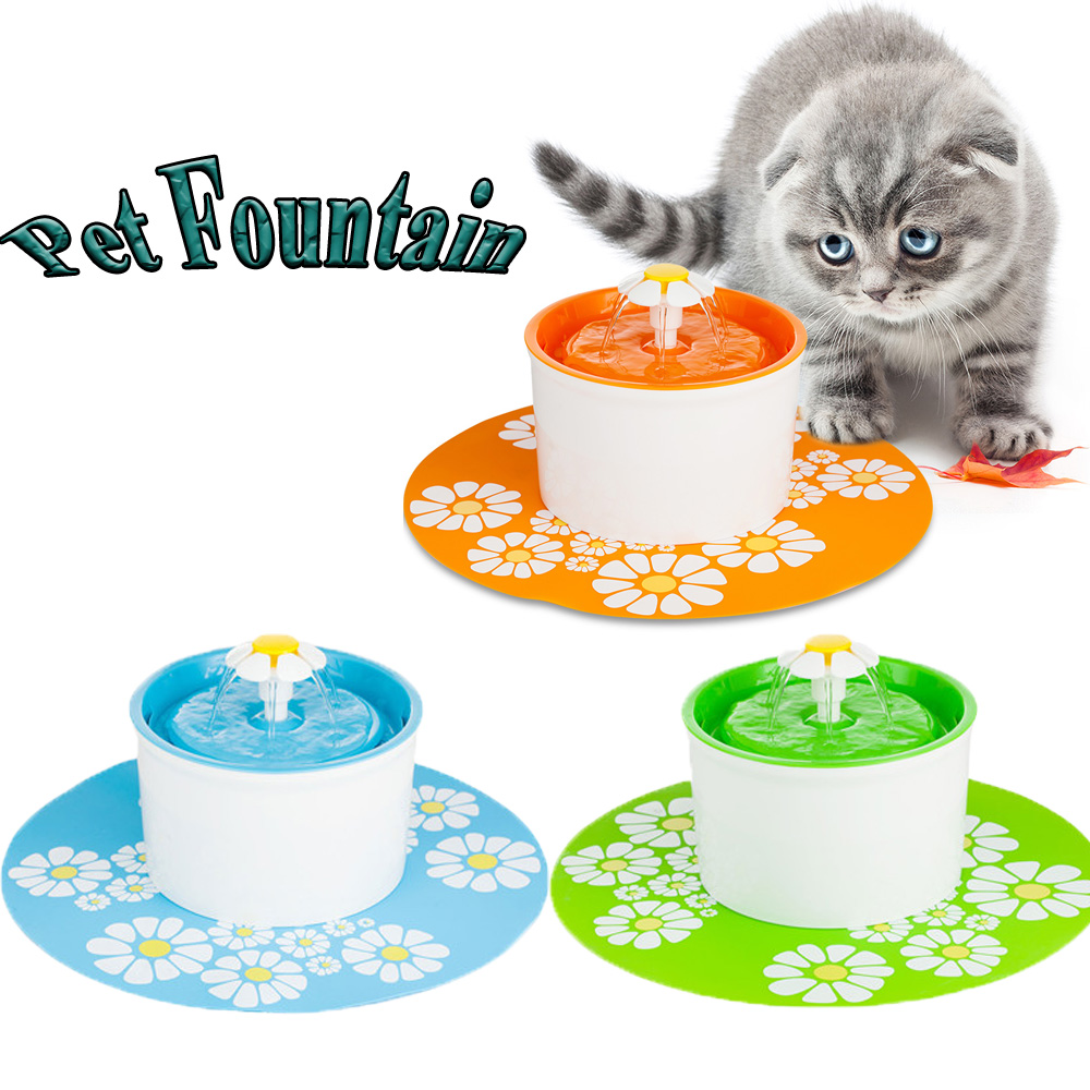 New 1.6L Flower Style Automatic Cat Dog Pet Kitten Water Drinking Fountain Pet Bowl Drink Dish Filter with Silicone Mat<br>