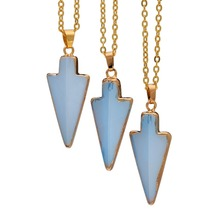 SEDmart Gold Color Arrow Shape Natural Opal Stone Pendant Necklace For Women Raw Pink Crystal Necklaces Jewelry(China)