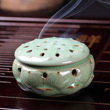 Longquan celadon ceramic Buddha crafts Lotus style incense burner incense coil sandalwood censer onsale(China)