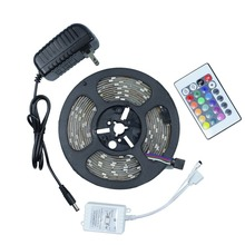 Waterproof LED RGB strip light SMD 3528 IP65 ip20 Light 60LED/M 1/5M + remote controller +DC 12V Adapter Power RGB lamp bulb