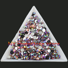 free shipping SS12 3mm Pink AB Crystal Multiple facets Resin Flat Back Rhinestones 10000pcs Nail art applique strass Non hotfix(China)