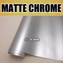 Premium Matte Satin Chrome Silver Vinyl Car Film Sticker Decal Bubble Free Car Vinyl Wrapping Film